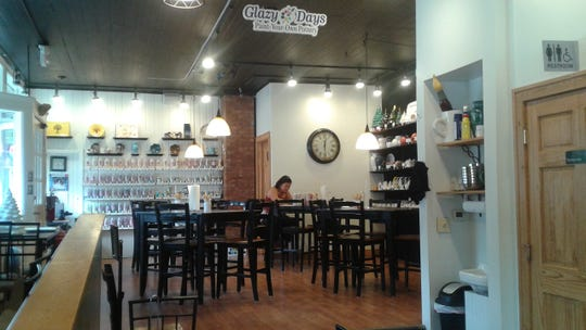 This view of Glazy Days is from the adjacent  Corner Caffe.  Glazy Days customers can snack and sip beverages while they paint.