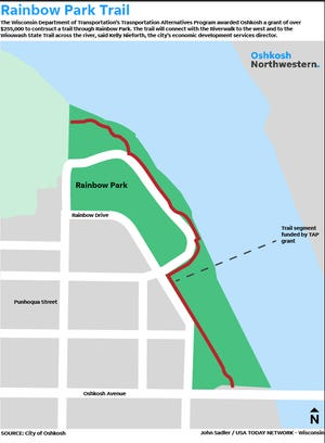 This graphic shows the location of the trail at Rainbow Park that will be constructed with Department of Transportation grant funding.