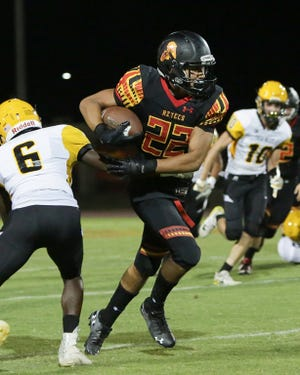 Scenes from Palm Desert's rout of  Yucca Valley, 42-0, Thursday night.   With this win, the Aztecs advance to 4-0.