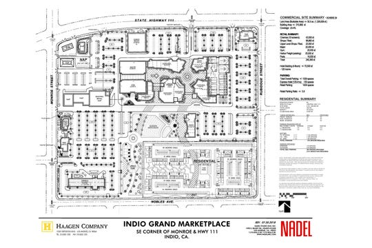 The most recent site plan drawn up by architecture firm Nadel Studio One shows the Haagen Company's plans for the mall property as well as the adjacent lot, currently owned by the city of Indio.