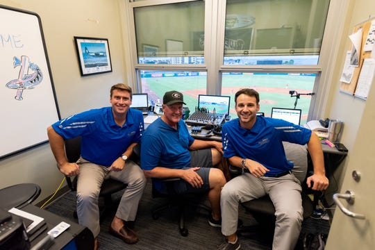Blue Wahoos broadcaster Tommy Thrall, left, makes a major league broadcasting debut Friday  when filling in for Hall of Famer Marty Brennaman this weekend in the Cincinnati Reds weekend series against the San Diego Padres.