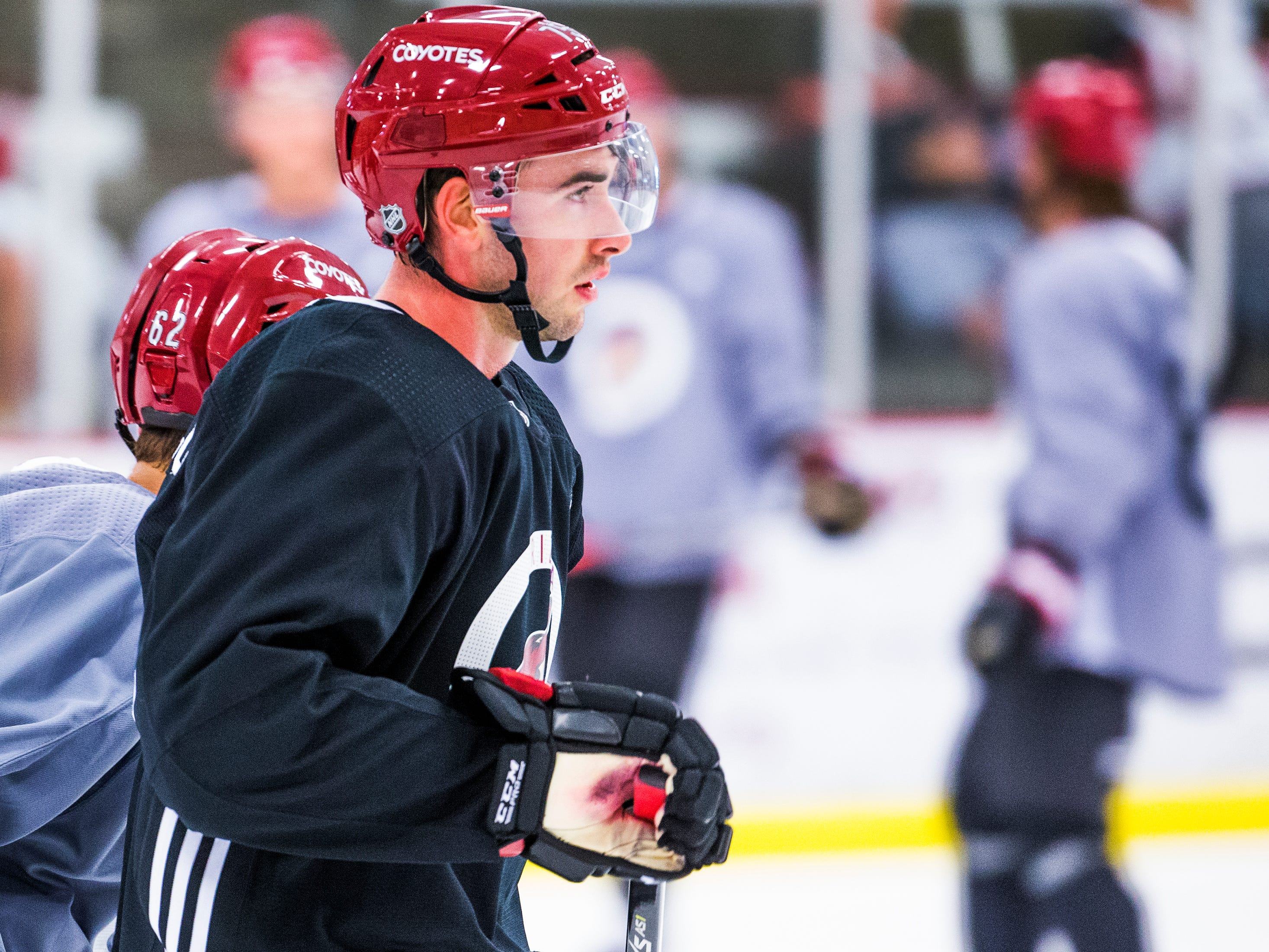 Kyle Capobianco skates during Arizona Coyotes rookie camp at Ice Den Scottsdale, Friday, September 7, 2018.