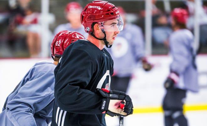 Kyle Capobianco skates during Arizona Coyotes rookie camp at Ice Den Scottsdale, Friday, September 7, 2018.