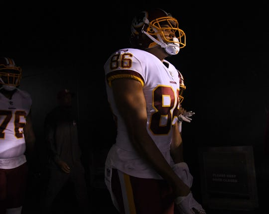 Redskins tight end Jordan Reed (86) is seen inside the tunnel before a game against the Eagles.