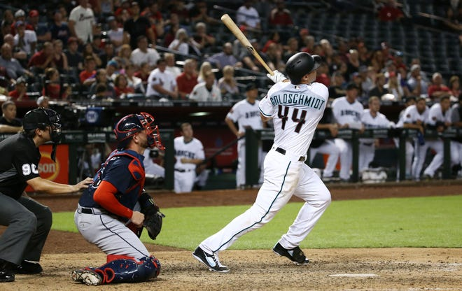 Arizona Diamondbacks Paul Goldschmidt hits a solo home run to tie the game 6-6 against the Atlanta Braves in the ninth inning on Sep. 6, 2018, at Chase Field in Phoenix, Ariz.