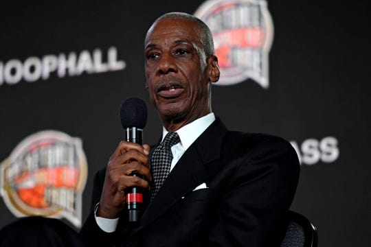 Former basketball player Charlie Scott speaks during the NBA Hall of Fame press conference at the Alamodome.
