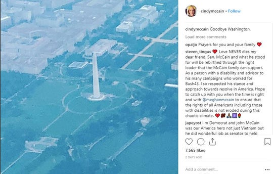 Cindy McCain shares on Instagram an aerial view over the Washington Monument as the McCain family departs from Washington, D.C., on Tuesday after laying U.S. Sen. John McCain to rest on Sunday in Annapolis, Maryland.