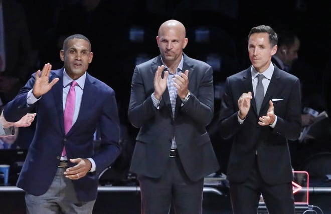 NBA Hall of Fame inductees from left Grant Hill , Jason Kidd and Steve Nash are recognized during the semifinals of the 2018 men's Final Four at Alamodome.
