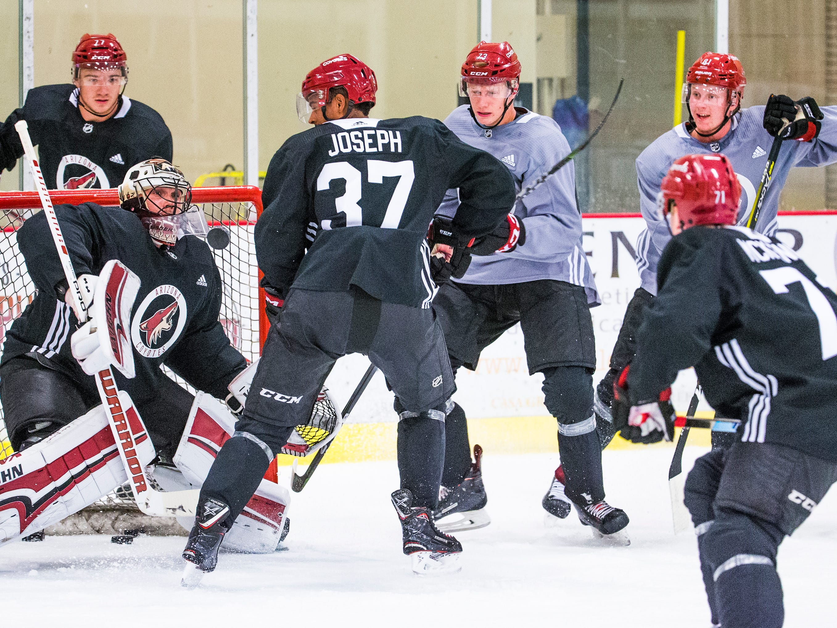 Pierre-Olivier Joseph, #37, takes a shot on goal during Arizona Coyotes rookie camp at Ice Den Scottsdale, Friday, September 7, 2018.