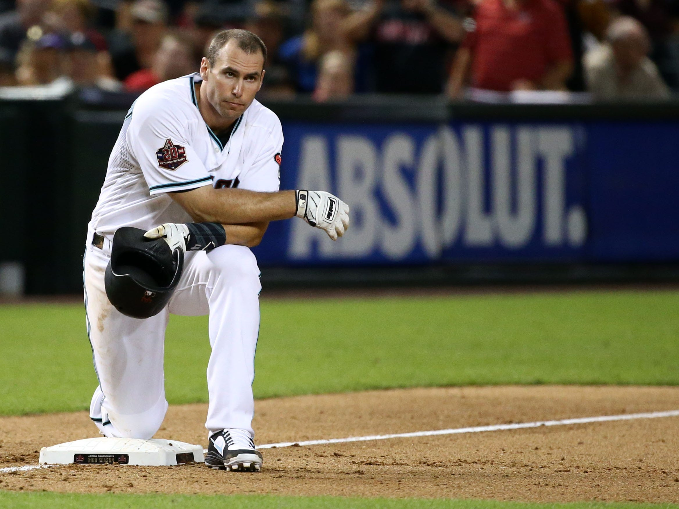 Arizona Diamondbacks Paul Goldschmidt waits at third base while Steven Souza Jr. is tossed from the game against the Atlanta Braves in the eighth inning on Sep. 6, 2018, at Chase Field in Phoenix, Ariz.