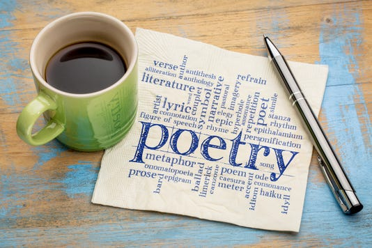 Poetry Word Cloud On Napkin With Coffee