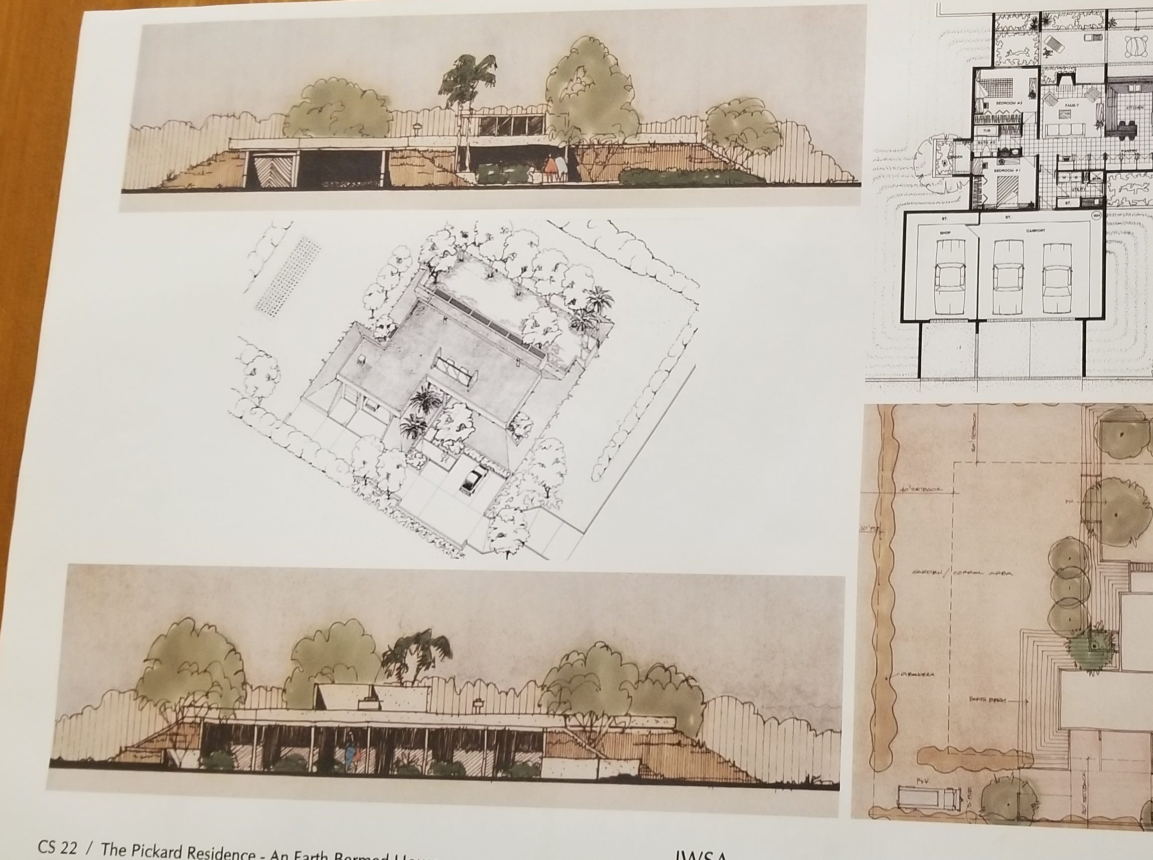 The original blueprints and conceptual designs for the Pickard home. Architect Jim Scalise incorporated Larry Pickard's love for VW Buses and his own vehicle preference in the renderings.