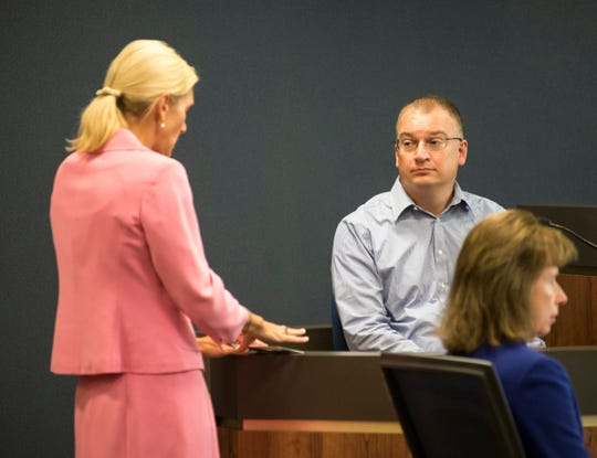 St. Clair County Senior Assistant Prosecuting Attorney Jennifer Smith Deegan, left, presents evidence to Blue Water Area Transit route and operations supervisor Mark Watson Friday, Sept. 7, 2018, during the trial for Theresa Gafken.