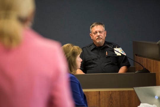 Tri-Hospital EMS paramedic Michael Ulrich responds to questions from St. Clair County Senior Assistant Prosecuting Attorney Jennifer Smith Deegan Friday, Sept. 7, 2018 during the trial for Theresa Gafken. Ulrich was one of the first paramedics to respond to the fatal crash April 11.
