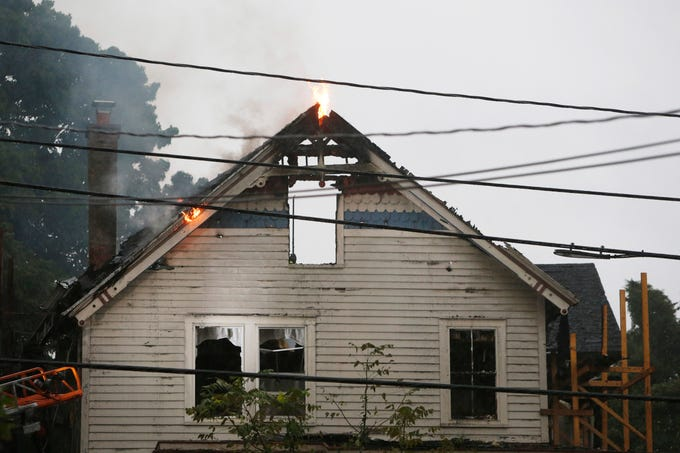 A house on Route 82 in Hopewell Junction that was set ablaze from a lightning strike on September 6, 2018.