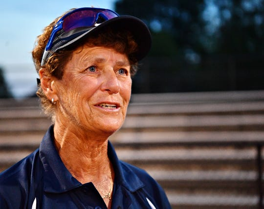 Dallastown Coach Jeri Myers speaks to media after achieving her 500th carreer win at Dover Area High School in Dover Township, Thursday, Sept. 6, 2018. Dawn J. Sagert photo