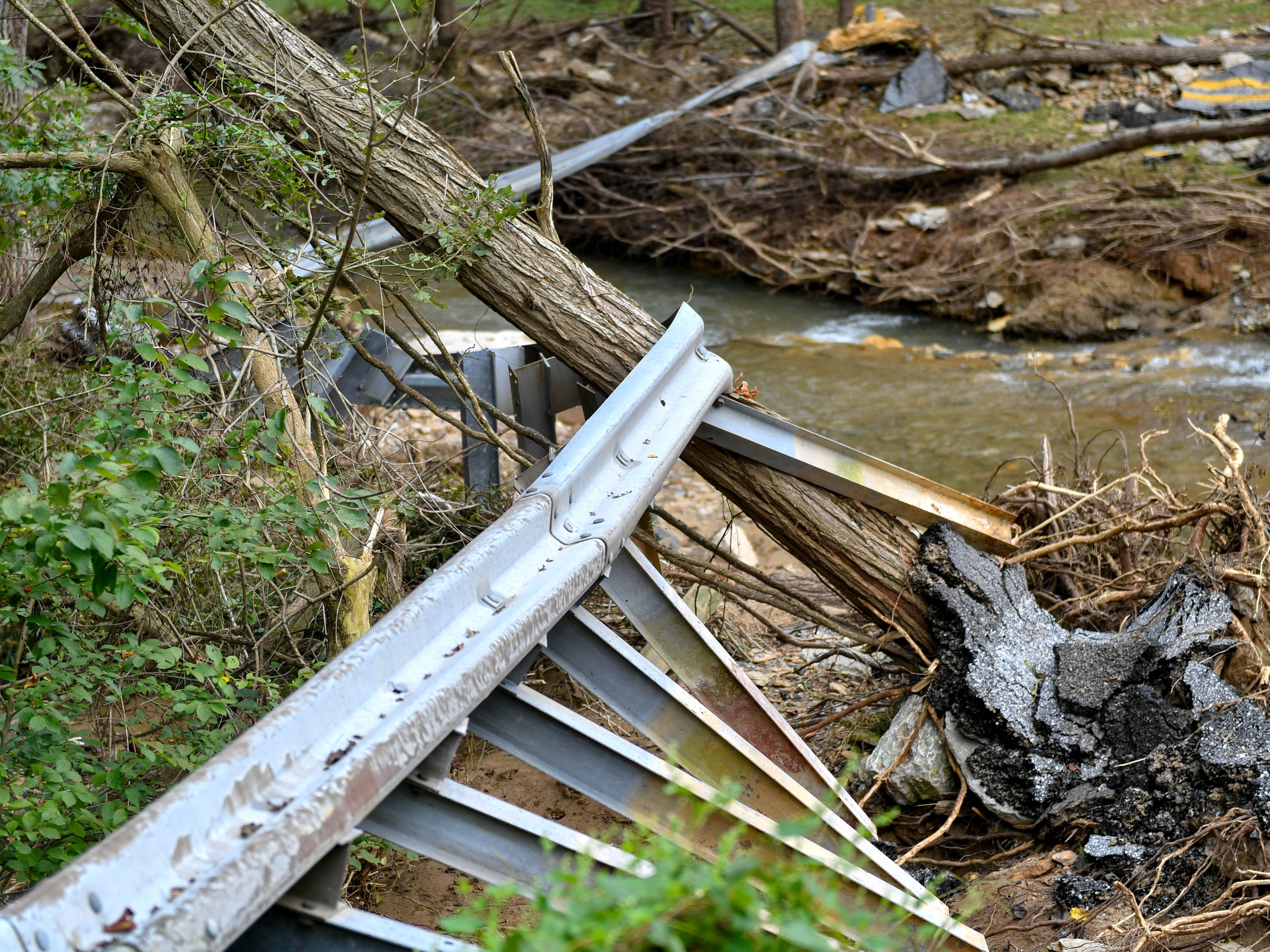 Destroyed guardrails were a common sight during Wagner's tour around York County, Thursday, September 6, 2018.