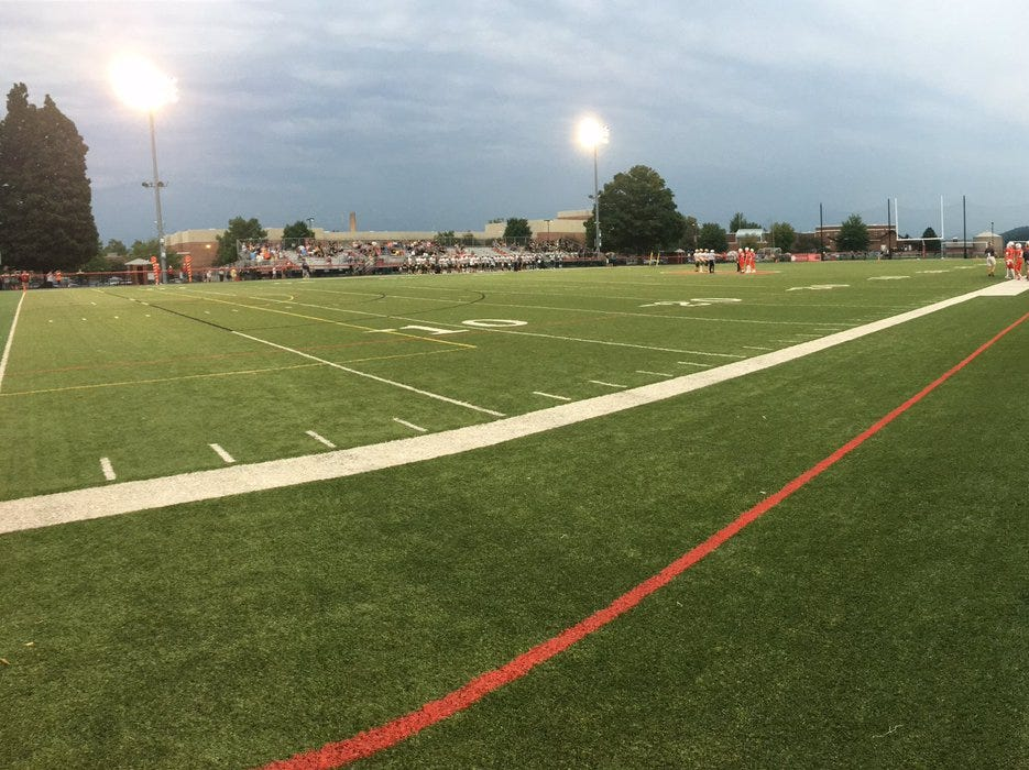 Cloudy skies, but no delay to the start of Friday's game between Susquehannock and York Catholic.