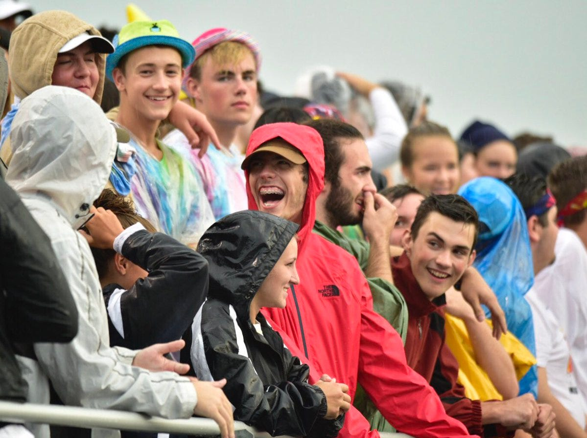 Fans have to pull out the rain gear for Chambersburg's game against Red Lion on Friday night.
