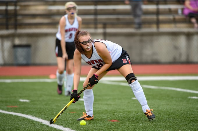 Chloe Lightner (26) lines up the pass during the field hockey game between Dover and Dallastown, Thursday, September 6, 2018.