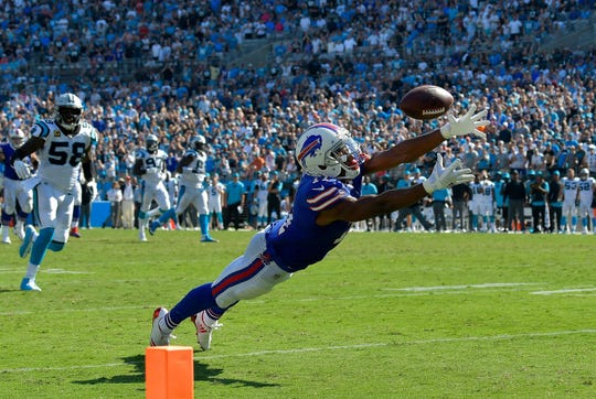 Zay Jones (11) of the Buffalo Bills can't make the diving catch on fourth down in the final seconds of a loss to the Carolina Panthers last Sept. 17. He said his rookie challenges have made him a stronger person and player.