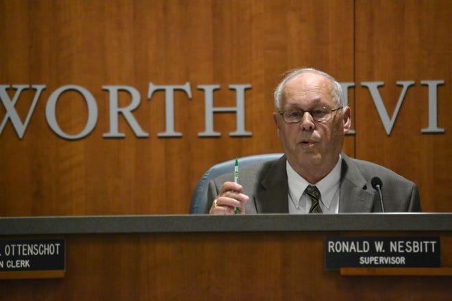 Ron Nesbitt, Webster's town supervisor, speaks during the Webster Town Board Meeting on Thursday, Sept. 6, 2018.