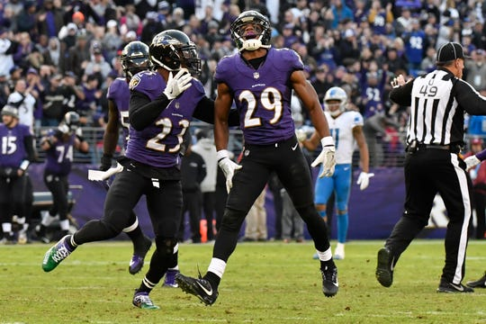 Marlon Humphrey (29) and Tony Jefferson (23) are two key members of the Ravens' secondary.