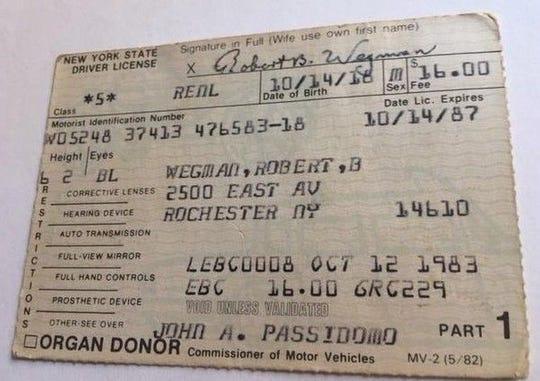Image of Robert B. Wegman's 1983 driver's license.