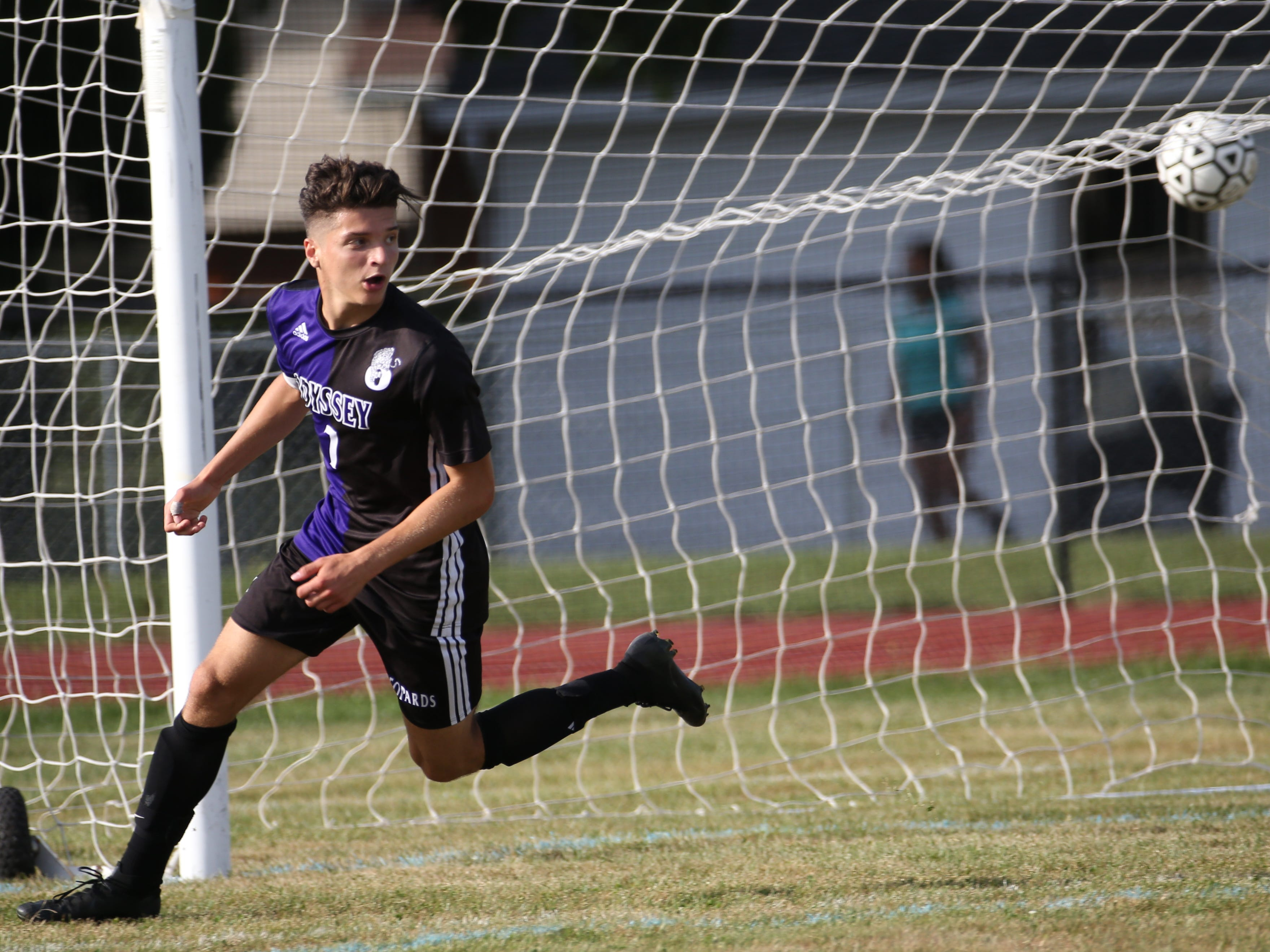 Greece Odyssey's Dylan Ange (7) celebrates his goal against Honeoye Falls-Lima in the first half of a game played on Sept. 4. Ange has 24 goals this season for the top-seeded Leopards.