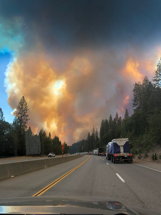 This is the plume of smoke a couple stuck in traffic on Interstate 5 saw on Wednesday, Sept. 5, 2018 as the Delta Fire broke out north of Redding.
