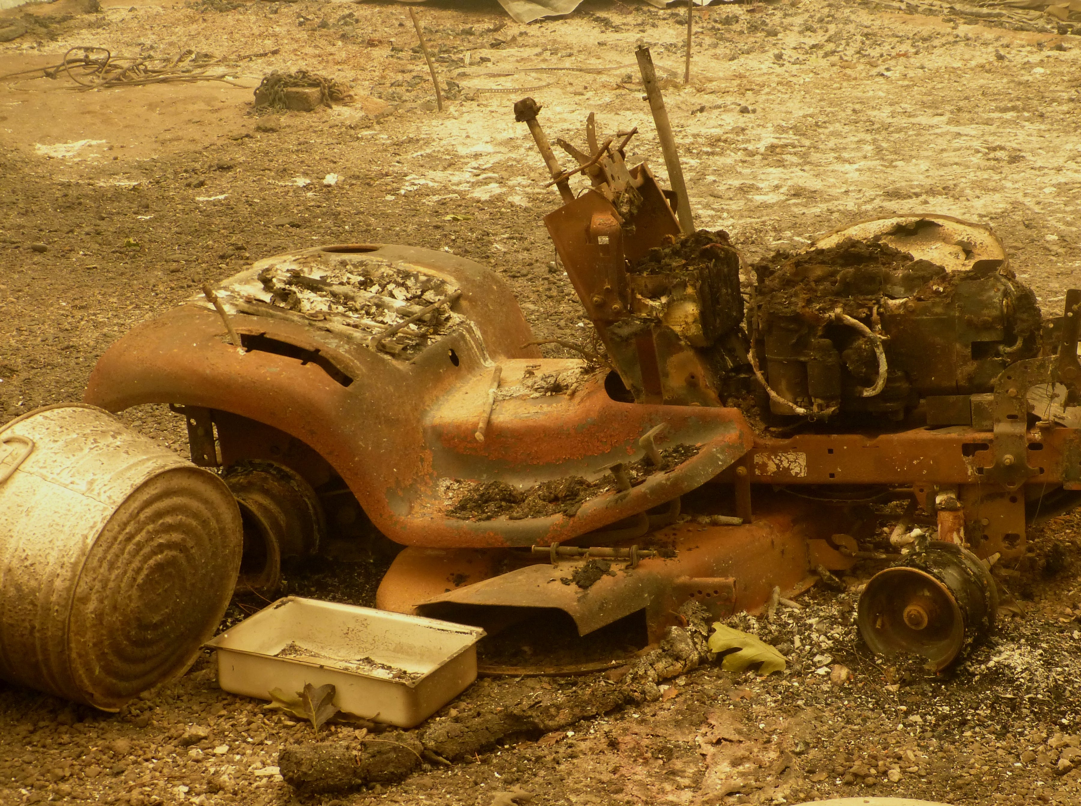 This is all that's left of a fire-ravaged all-terrain vehicle near Pollard Fire.