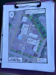 A map of the archaeological blocks being investigated on the site just north of downtown where Salem Police headquarters will be built. The map also shows the now-demolished buildings of the former car dealership that occupied the site.