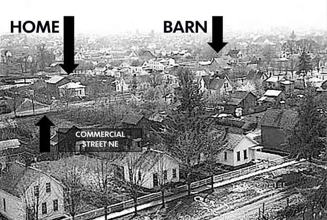 A historic photo taken from atop the Willamette Valley Mill Company looking southeast shows what the block where Salem Police headquarters will be built looks like in 1890. Front Street NE is in the foreground.
