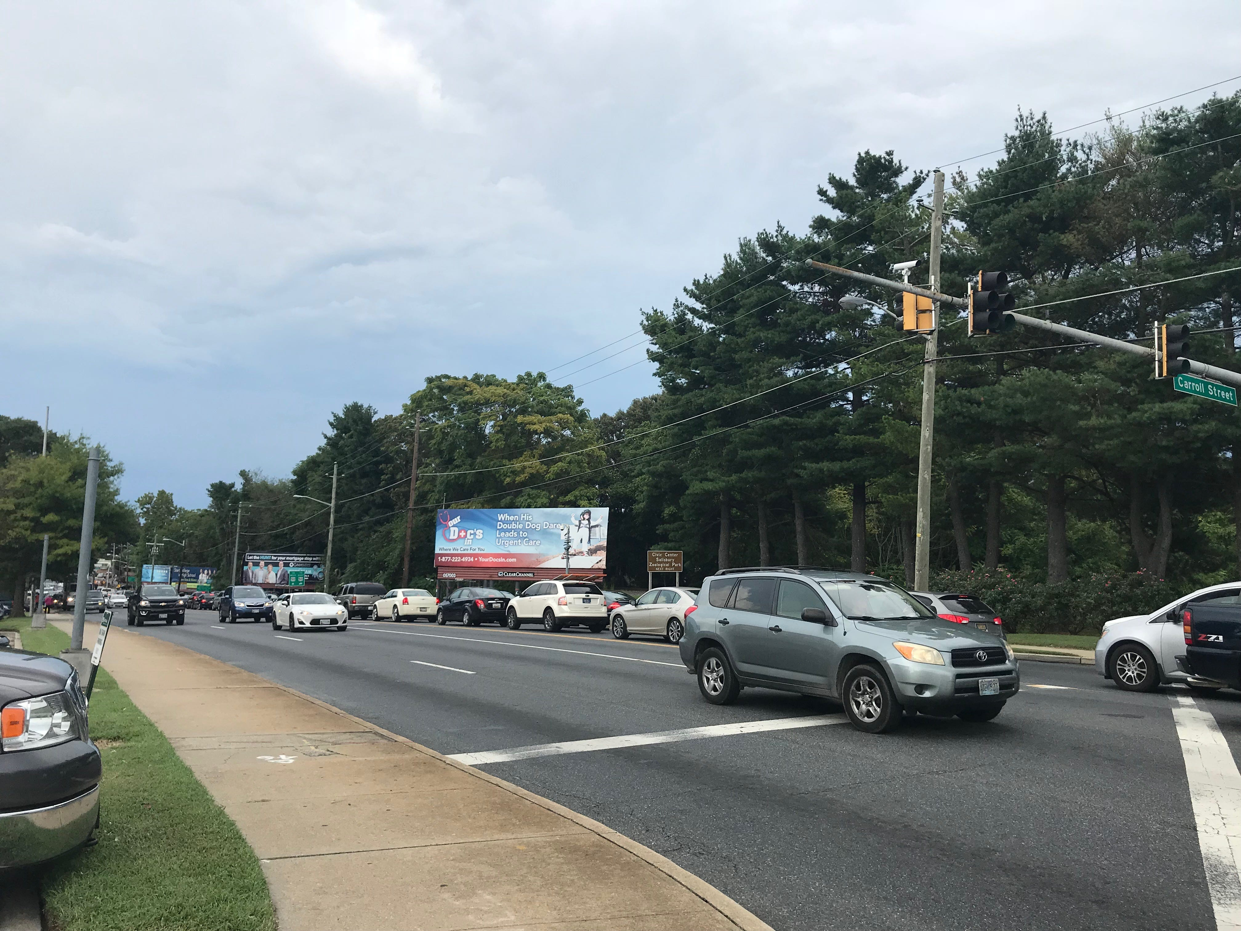 Traffic is heavier than normal near downtown Salisbury as the city wraps up preparations for the National Folk Festival on Friday, Sept. 7, 2018.