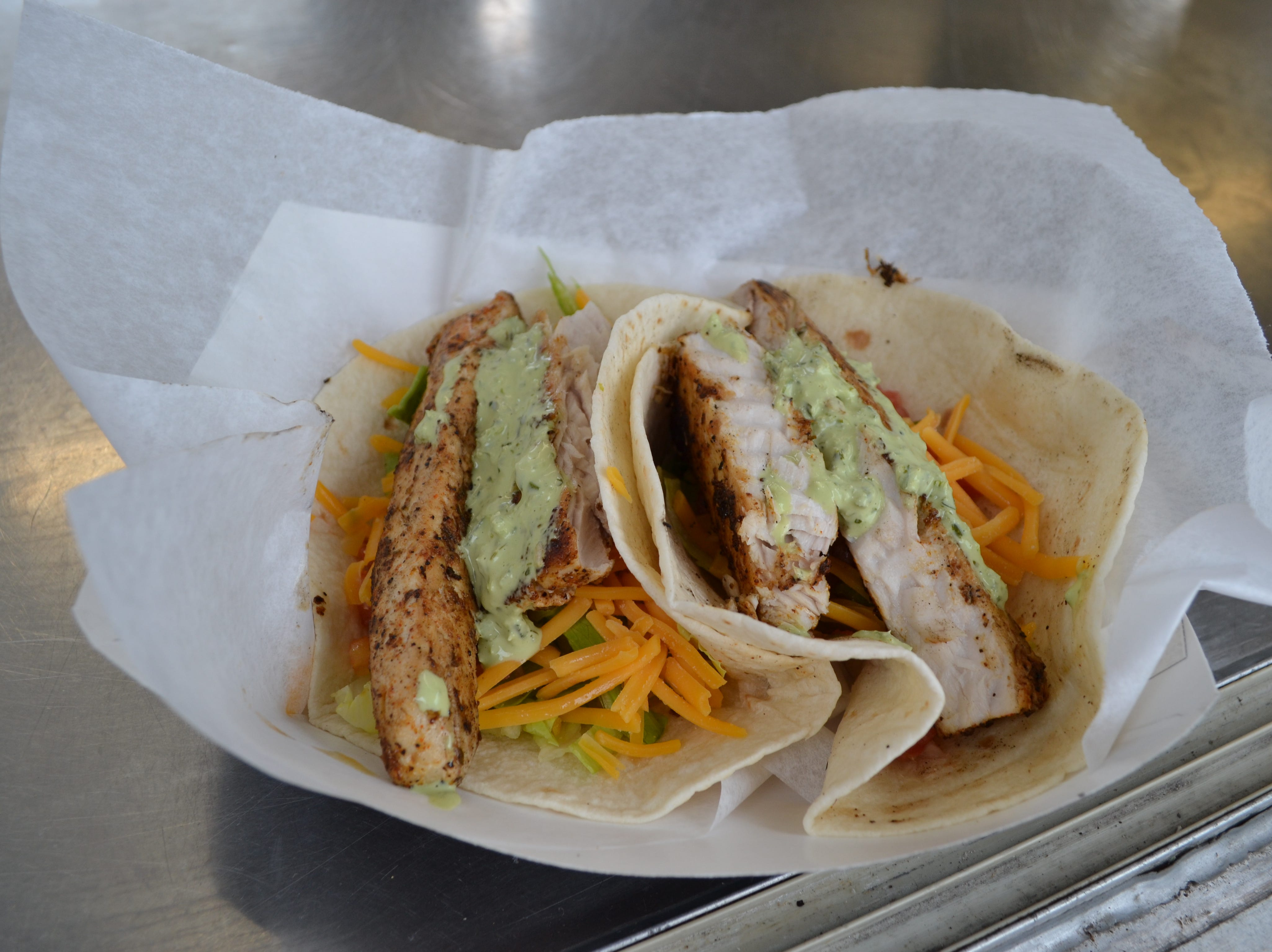 Sobo's is offering these blackened mahi tacos near the PRMC Stage at the National Folk Festival in Salisbury.