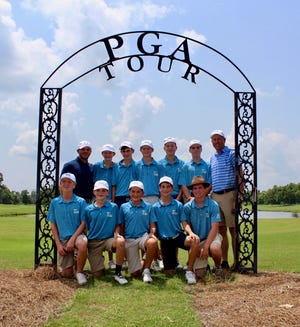 A group of 10 junior golfers will represent Shreveport in the PGA Jr. League in Olive Branch, Mississippi, on Saturday. (Bottom row, l-r): Duke Bowen, Grant Reagan, Maxwell McDonald, Jack Parsons, Eli Hill. (Top row, l-r): Shaun Webb, Nick Wright, Bennett Wicker, Brown Snyder, Ethan Dial, Noah McWilliams, Adam Young,