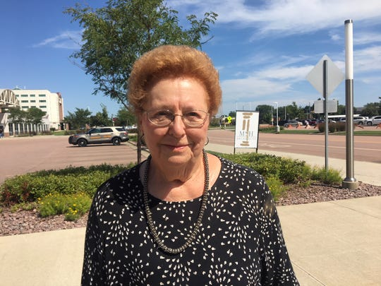 Margaret Ringling, 83, of Platte, SD, attends a closed-door fundraiser event in Sioux Falls, where President Donald Trump spoke in support of gubernatorial hopeful Kristi Noem.
