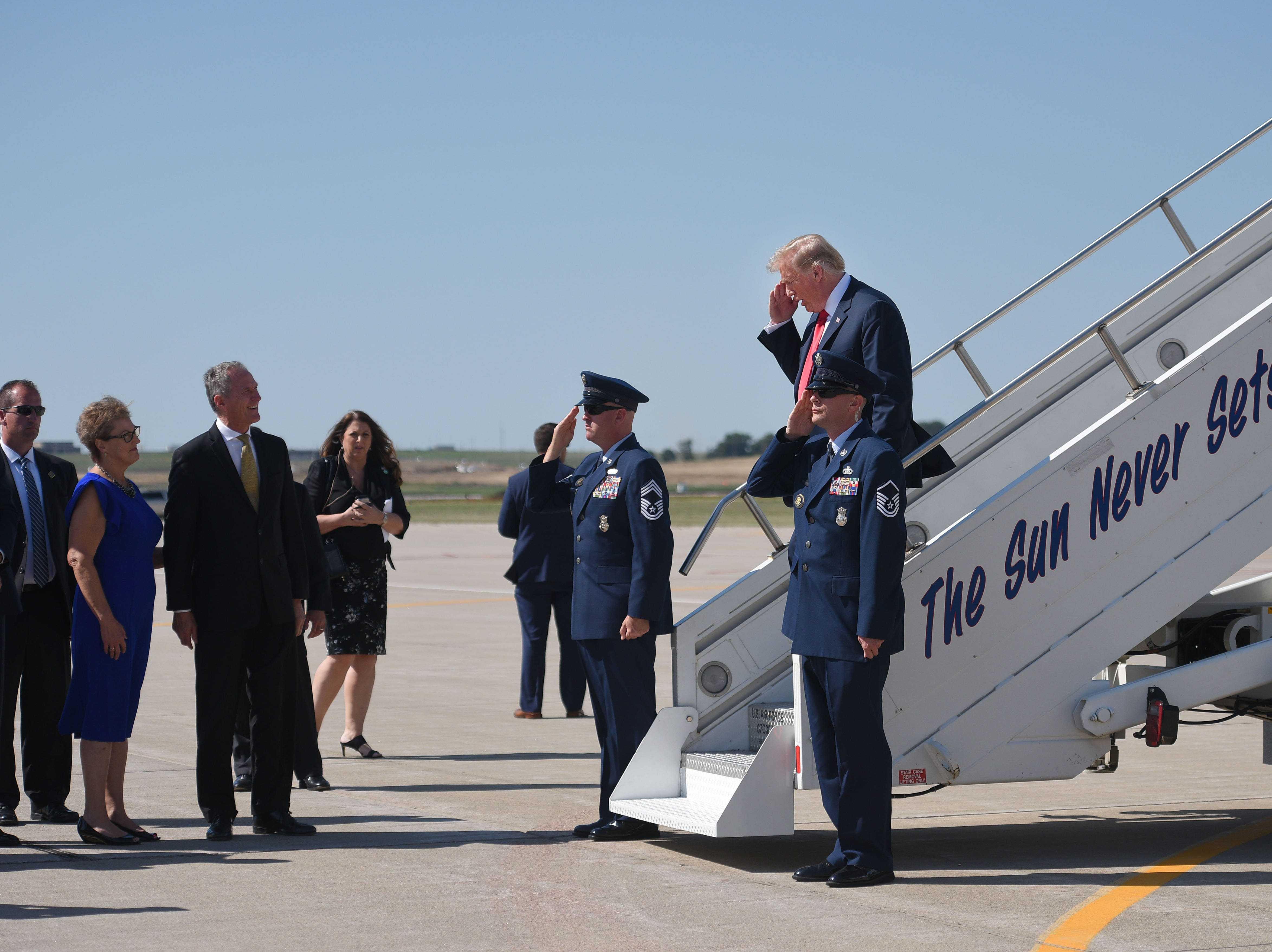 President Donald Trump steps off Air Force One Friday, Sept. 7, at South Dakota Air National Guard in Sioux Falls.