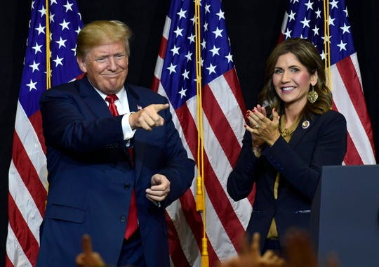 President Donald Trump speaks during a fundraiser for Republican gubernatorial hopeful Kristi Noem in Sioux Falls, S.D., Friday, Sept. 7, 2018. (AP Photo/Susan Walsh)