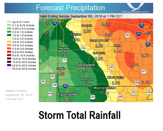 National Weather Service forecast map shows expected rainfall through Sunday afternoon.