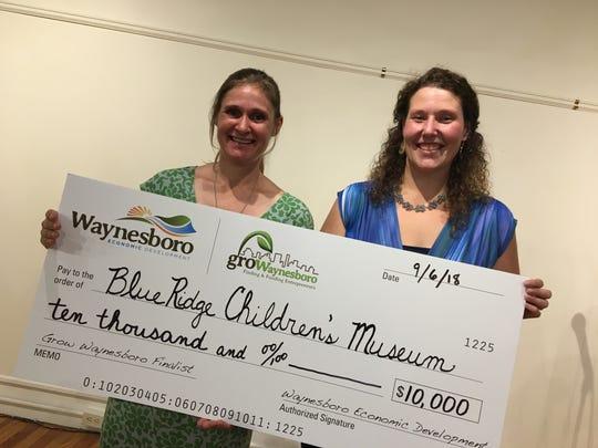 Karen Orlando and Megan Walker of the Blue Ridge Children's Museum were awarded $10,000 through the Grow Waynesboro grant program.
