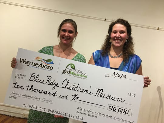 Karen Orlando and Megan Walker of the Blue Ridge Children's Museum were awarded $10,000 through the Grow Waynesboro grant program.