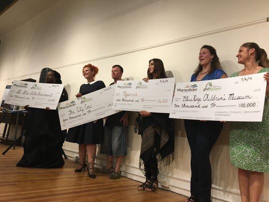 Grow Waynesboro finalists with their grant money on Thursday, Sept. 6, 2018.