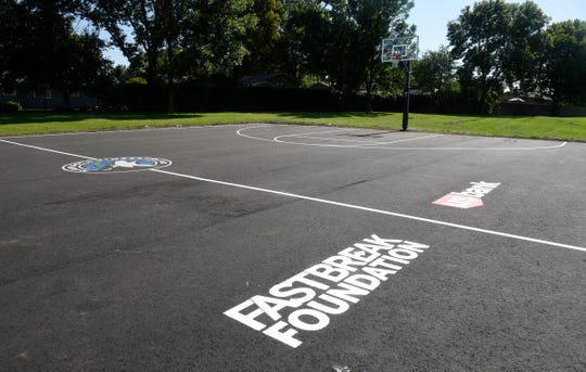 """The basketball court at Northway Park in St. Cloud was one of four refurbished this summer by the Timberwolves FastBreak Foundation  through the """"Our Courts. Our Future."""" program, which replaces worn out basketball courts across Minnesota.Ê"""