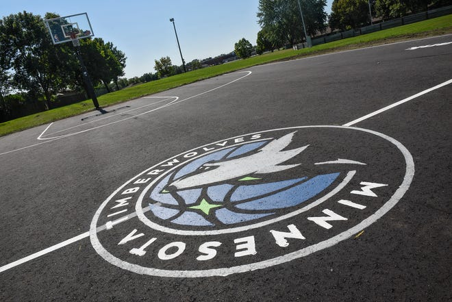 """An unveiling party is planned for the rebuilt basketball court at Northway Park in St. Cloud. The Timberwolves FastBreak Foundation refurbished four courts this summer through the """"Our Courts. Our Future."""" program, which replaces worn out basketball courts across Minnesota.ÊThe Northway court is pictured Friday, Sept. 7, in St. Cloud."""