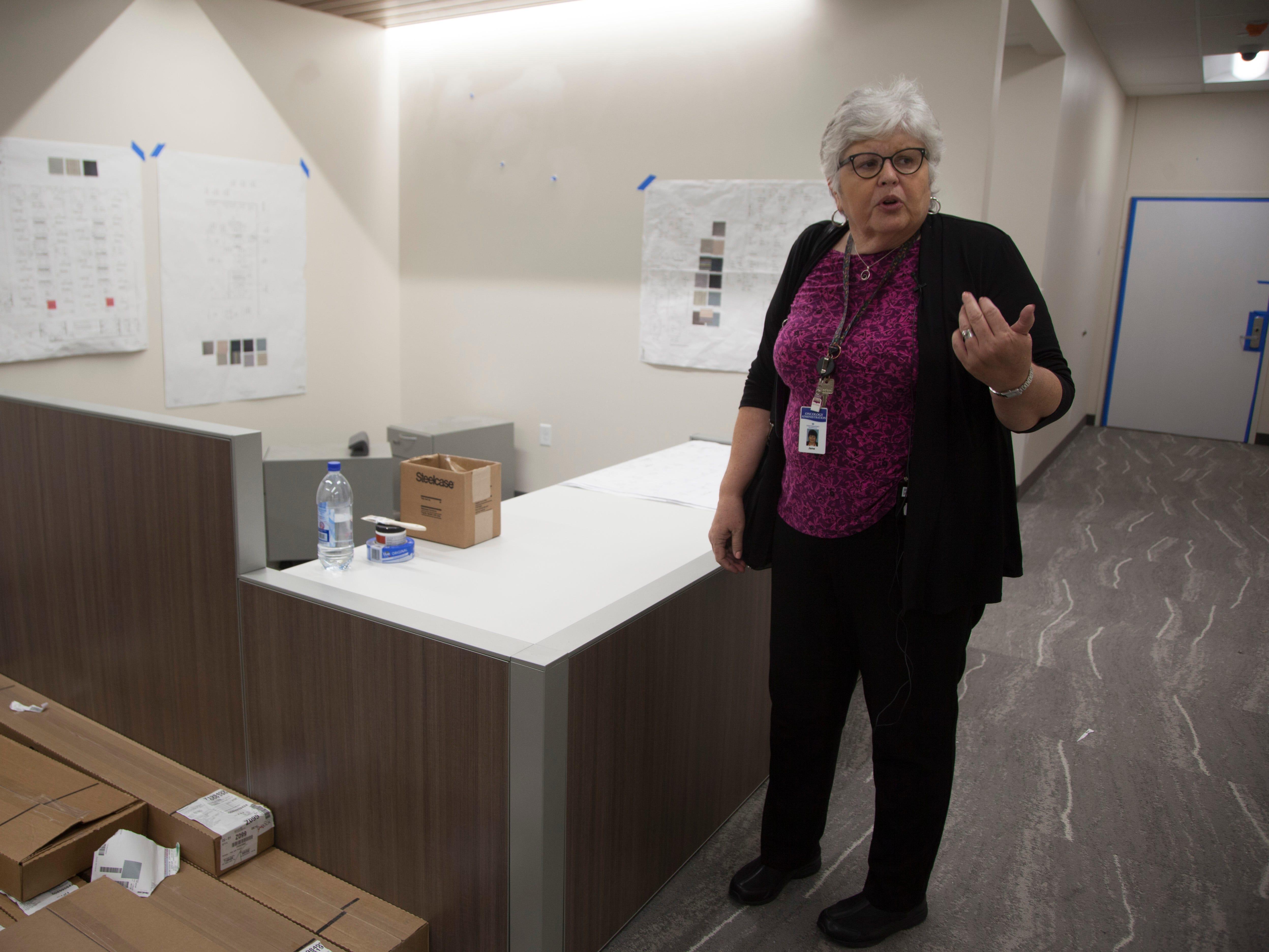 Jane Jensen, program director at Intermountain Cancer Center, talks to the media Sept. 5, 2018.
