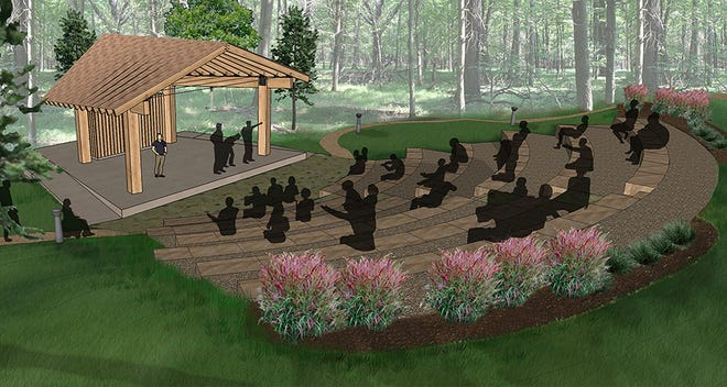 A rendering of the new Pankowski Friends Amphitheater in Schmeeckle Reserve that construction broke ground for on Sept. 7.