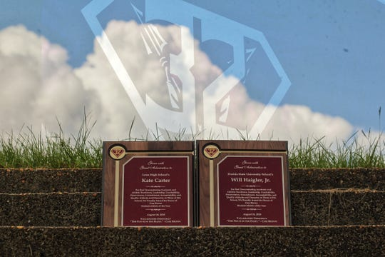 Photo illustration of the late Cam Brown's Florida High jersey No. 32 and the newly created Cam Brown Student-Athlete of the Year award. Brown died Nov. 4, 2017 from complications with osteosarcoma, an aggressive form of bone cancer. Brown's spirit uplifted the Big Bend community during his battle with cancer.