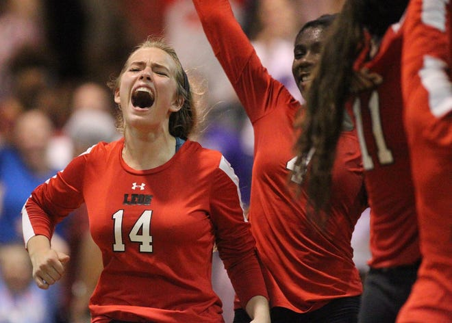 Leon's Katrin Fredrickson reacts as the Lions beat Chiles 3-0 on Thursday night in a District 2-8A volleyball game.