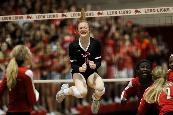 Leon's Kate Powell reacts to scoring a point as Leon beat Chiles 3-0 on Thursday night in a District 2-8A volleyball game.